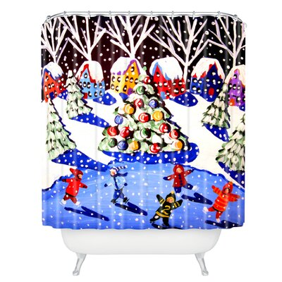 Renie Britenbucher Christmas Ice Skaters Shower Curtain