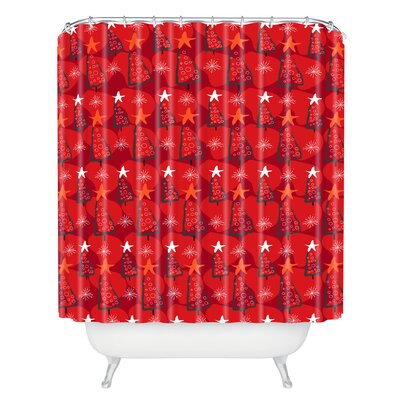 Julia Da Rocha Christmastrees Shower Curtain