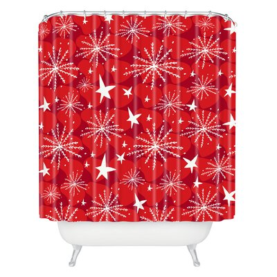 Julia Da Rocha Snow and Stars Shower Curtain