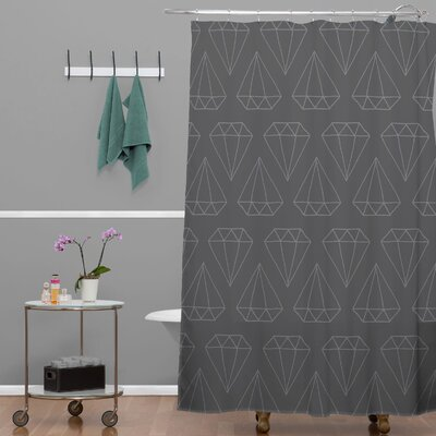Wesley Bird Diamond Print Shower Curtain Color: Gray Diamond Print 1