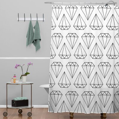 Wesley Bird Diamond Print Shower Curtain Color: White Diamond Print 2