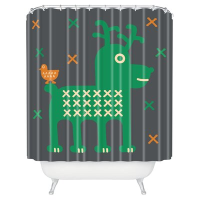 Gabriela Larios Reindeer and Birdy Shower Curtain