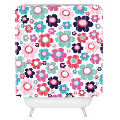 Ali Benyon Indigo Flowers Shower Curtain