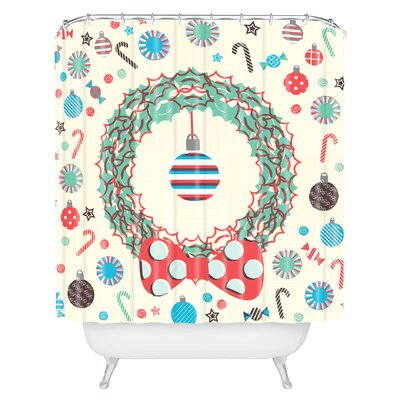 Sam Osborne Christmas Wreath Shower Curtain