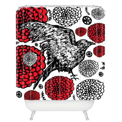 Julia Da Rocha Raven Rose Shower Curtain