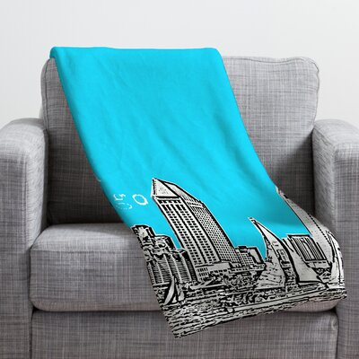 Bird Ave San Diego Throw Blanket Color: Sky, Size: 40 H x 30 W