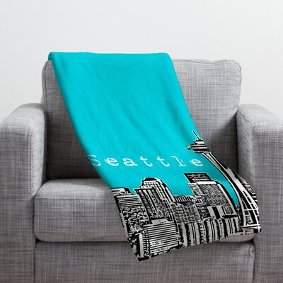 Bird Ave Seattle Throw Blanket Size: Small, Color: Teal
