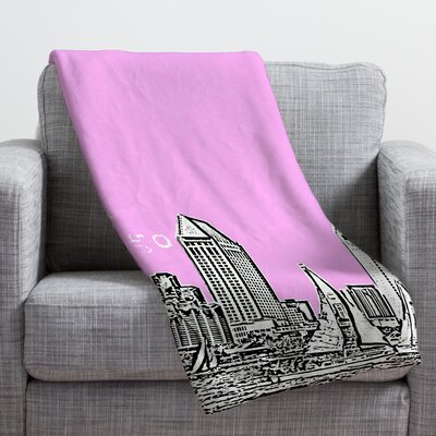 Bird Ave San Diego Throw Blanket Size: 40 H x 30 W, Color: Pink