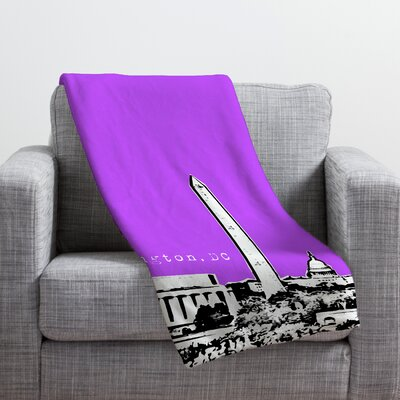 Bird Ave Washington Throw Blanket Size: Large, Color: Purple
