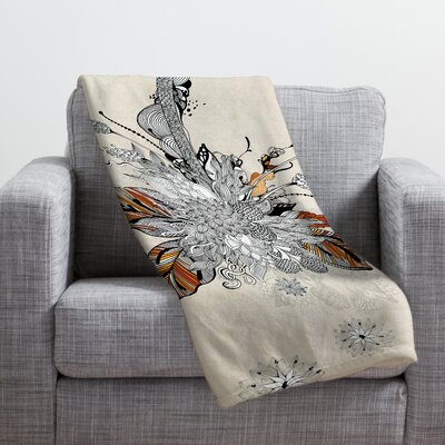Iveta Abolina Floral 2 Throw Blanket Size: Small