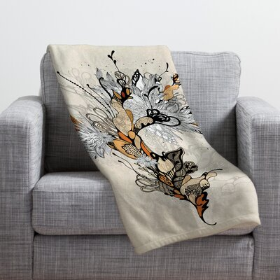 Iveta Abolina Floral 1 Throw Blanket Size: Large