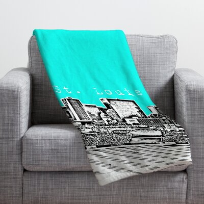 Bird Ave St Louis Throw Blanket Size: Large, Color: Aqua