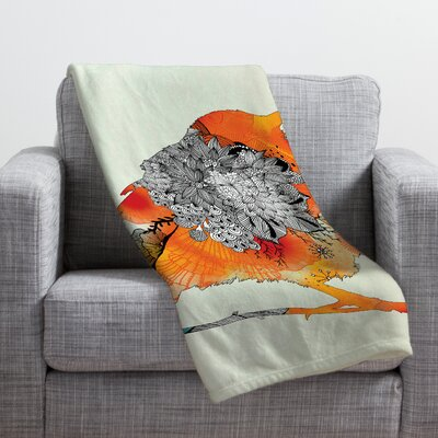 Iveta Abolina Orange Bird Throw Blanket Size: Medium