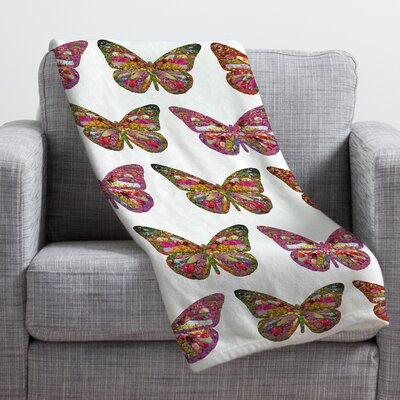 Bianca Green Butterflies Fly Throw Blanket Size: Small