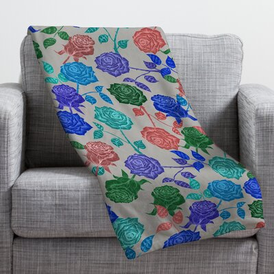 Bianca Green Roses Throw Blanket Size: Small, Color: Blue Roses