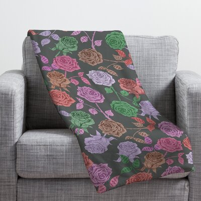 Bianca Green Roses Throw Blanket Size: Large, Color: Red Roses