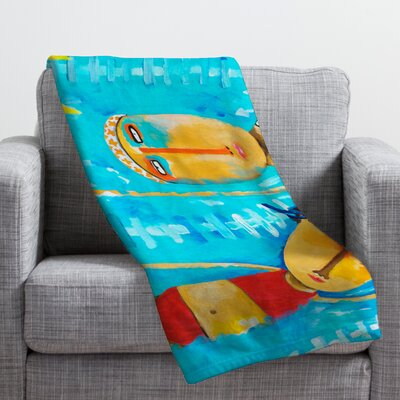 Robin Faye Gates Swimming Is Hard Throw Blanket Size: Large