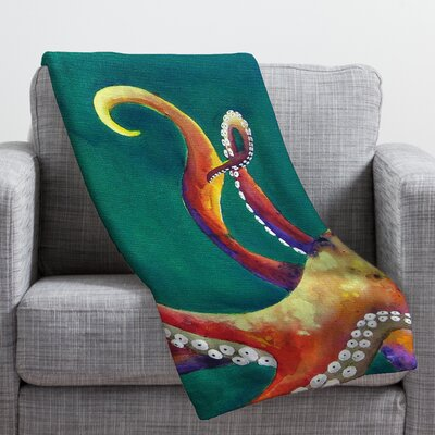 Clara Nilles Mardi Gras Octopus Throw Blanket Size: Medium