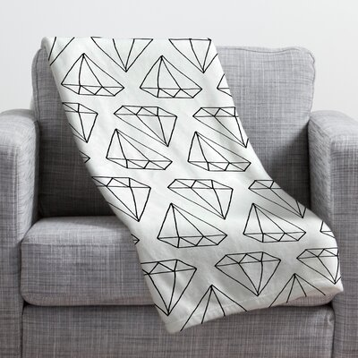 Wesley Bird Diamond Print Throw Blanket Size: Medium, Color: White Diamond Print