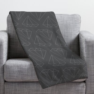 Wesley Bird Diamond Print Throw Blanket Size: Large, Color: Gray Diamond Print