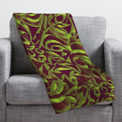 Wagner Campelo Abstract Garden Throw Blanket Size: Large, Color: Brown Abstract Garden 2