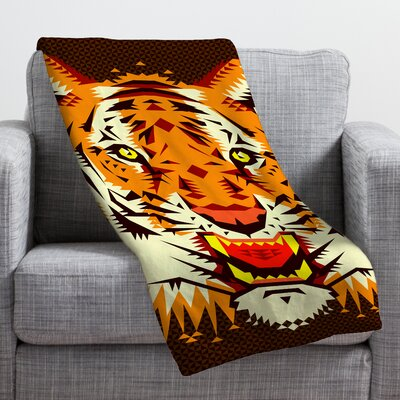 Chobopop Geometric Tiger Throw Blanket Size: 80 H x 60 W