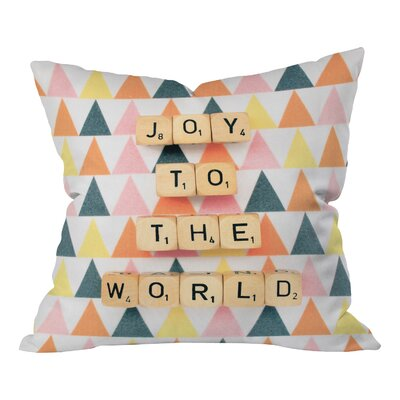 Happee Monkee Joy To The World Throw Pillow Size: Large