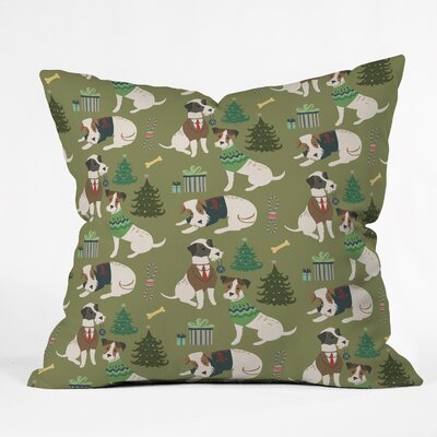 Christmas Canine Jack Russell Throw Pillow Size: 18 H x 18 W x 5 D