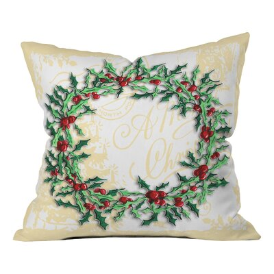 Madart Inc. Holly Wreath Throw Pillow Size: 18 H x 18 W x 5 D