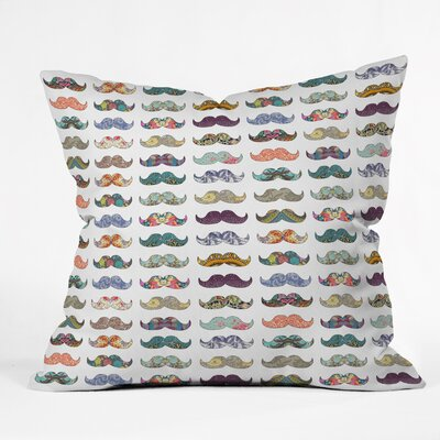 Bianca Green Mustache Mania Throw Pillow Size: 20 x 20