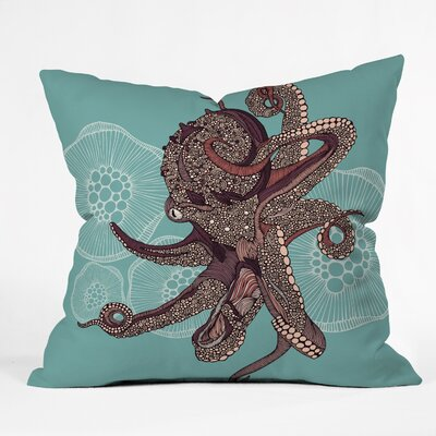 Octopus Bloom Throw Pillow Size: 18 x 18