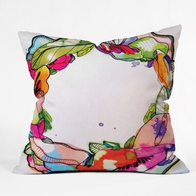 CayenaBlanca Floral Frame Throw Pillow Size: Medium
