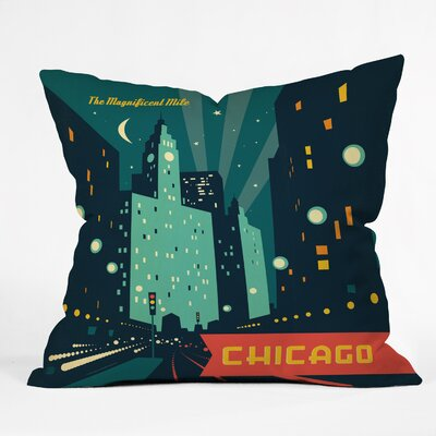 Anderson Design Group Chicago Mag Mile Throw Pillow Size: Small