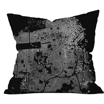 CityFabric Inc San Francisco Throw Pillow Size: 18 H x 18 W, Color: Black
