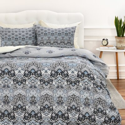 Blooms Duvet Cover Color: Gray, Size: King