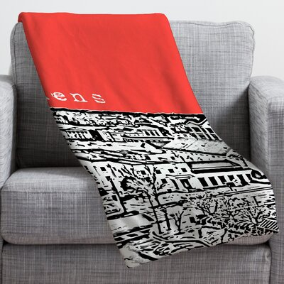 Bird Ave Athens Throw Blanket Size: Large, Color: Red