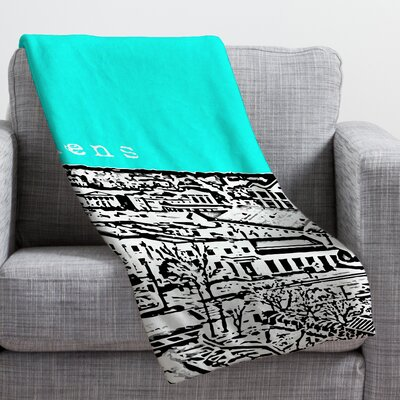 Bird Ave Athens Throw Blanket Size: Large, Color: Aqua