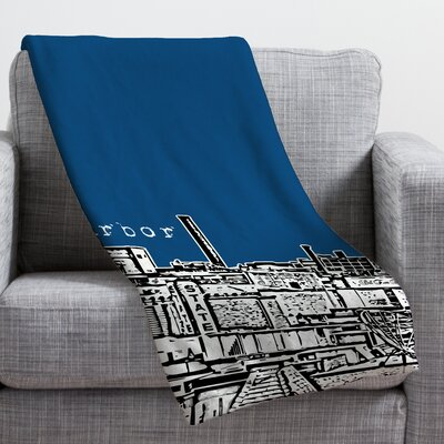 Bird Ave Ann Arbor Throw Blanket Size: Large, Color: Navy