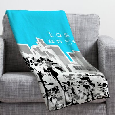 Bird Ave Los Angeles Throw Blanket Size: Large, Color: Aqua