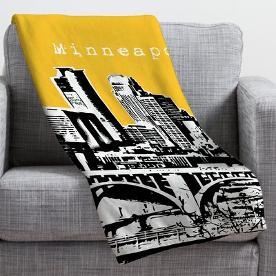 Bird Ave Minneapolis Throw Blanket Size: Large, Color: Yellow