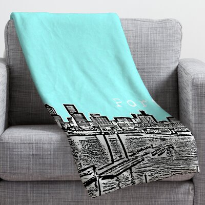 Bird Ave Portland Throw Blanket Size: Large, Color: Ice