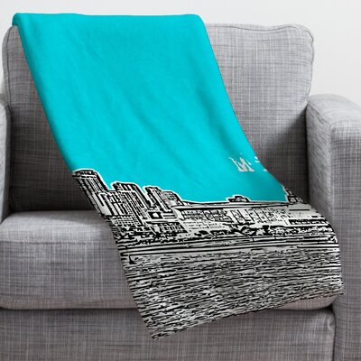Bird Ave Miami Throw Blanket Size: Large, Color: Teal