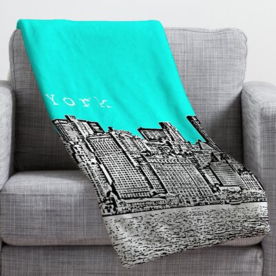 Bird Ave New York Throw Blanket Size: Large, Color: Aqua