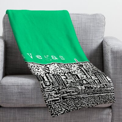 Bird Ave Las Vegas Throw Blanket Size: Large, Color: Green