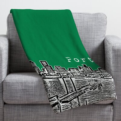 Bird Ave Portland Throw Blanket Size: Large, Color: Green