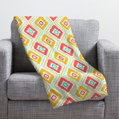 Jacqueline Maldonado Zig Zag Ikat Throw Blanket Size: Medium, Color: White Zig Zag Ikat