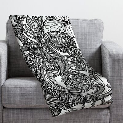 Valentina Ramos Bird in Flowers Black White Throw Blanket Size: Small