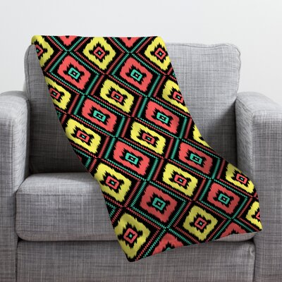 Jacqueline Maldonado Zig Zag Ikat Throw Blanket Size: Large, Color: Black Zig Zag Ikat