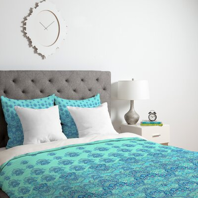 Blooms Duvet Cover Color: Blue, Size: Queen