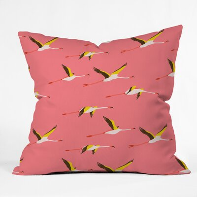 Flamingo Throw Pillow Size: 18 H x 18 W x 5 D, Color: Crush